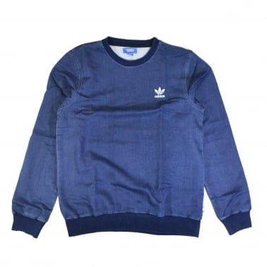 French Terry Denim Crew Sweatshirt
