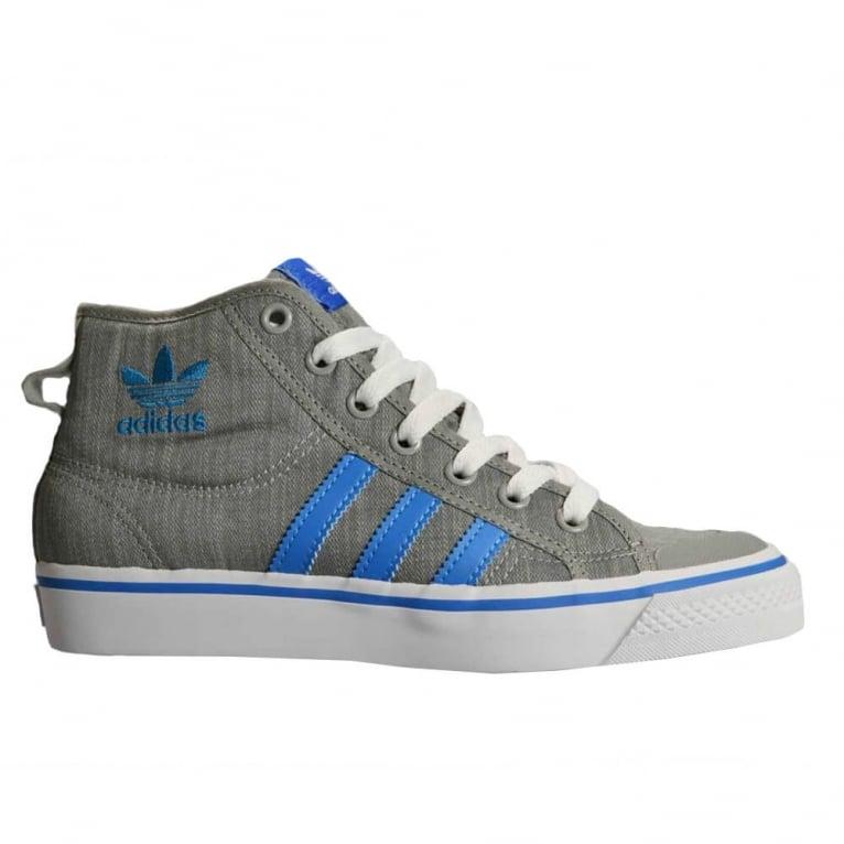 Adidas Originals Nizza Hi Kids Mid Grey/Blue - Larger Sizes