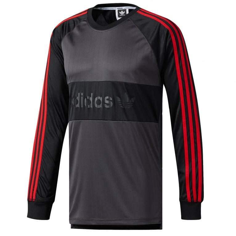 Adidas Skateboarding Goalie Long Sleeve T-Shirt - Black/Scarlet