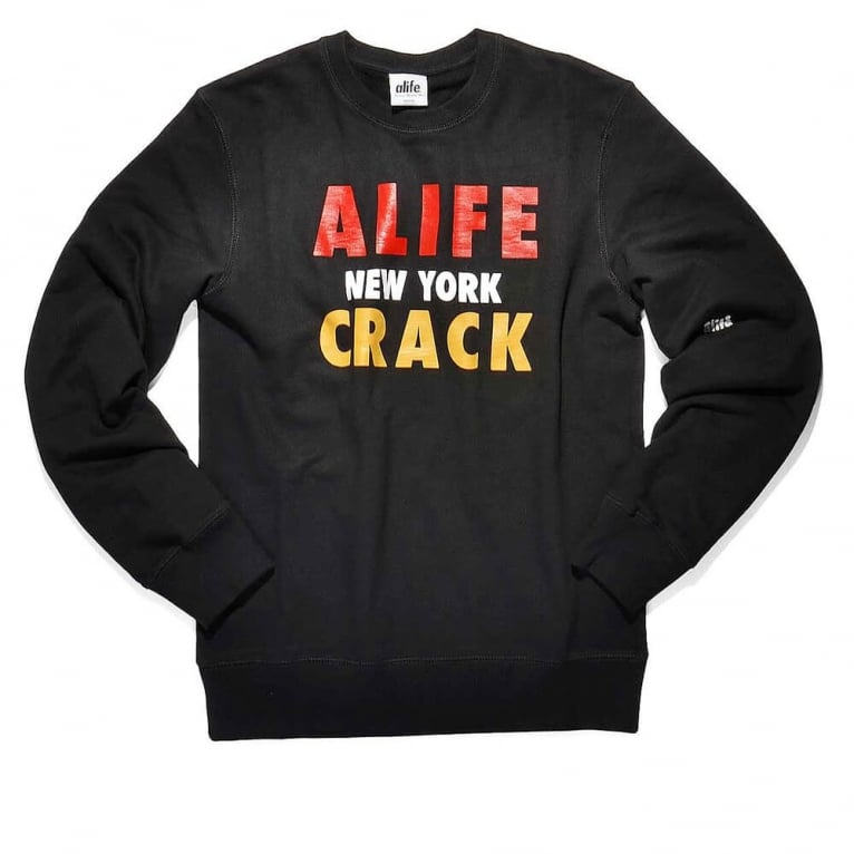 Alife Crack Crewneck Sweatshirt - Jet Black
