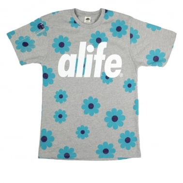 Daisy Allover T-shirt - Heather Grey