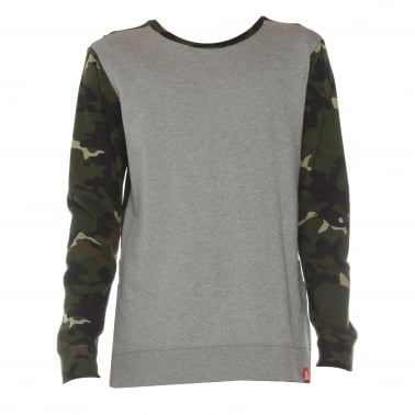 Split Crewneck Sweatshirt - Heather Grey/Camouflage