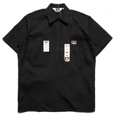 Short Sleeved Half Zipper Shirt - Black