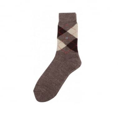 Argyle Socks Brown/Cream/Beige