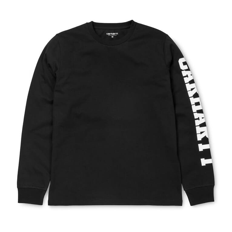 Carhartt college left long sleeve tee in black white for Carhartt long sleeve t shirts white