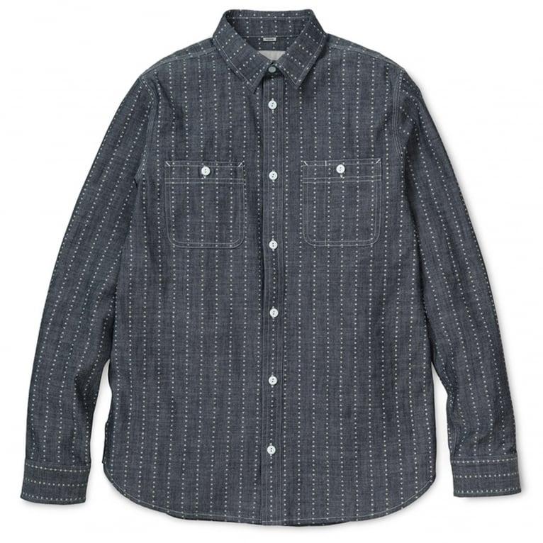 Carhartt WIP Hobbs Heart Stripe Long Sleeve Shirt - Indigo/White