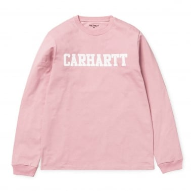 Long Sleeve College T-Shirt - Soft Rose/White