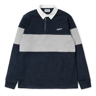 Long Sleeve Vintage Rugby Polo Shirt - Navy/White