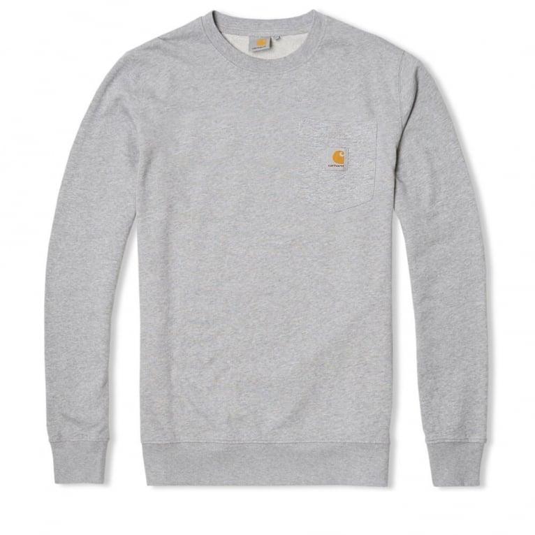 Carhartt WIP Pocket Crewneck Sweatshirt - Grey Heather