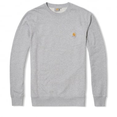 Pocket Crewneck Sweatshirt - Grey Heather