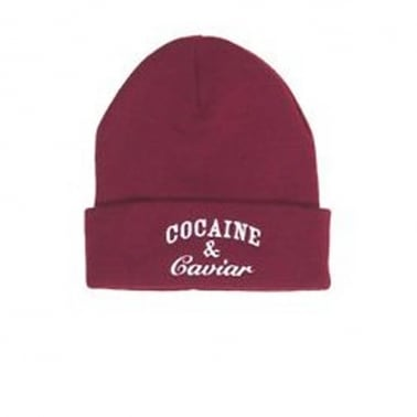 Cocaine Beanie - Burgundy/White