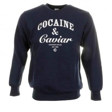 Cocaine Crewneck Sweatshirt - Navy/White