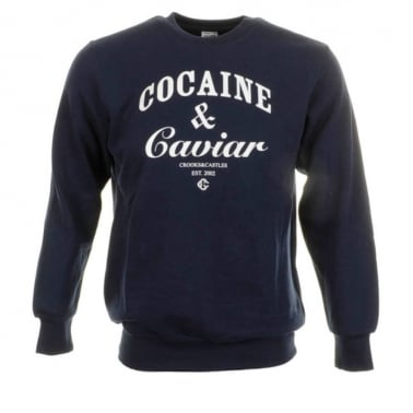 Cocaine Crewneck Sweatshirt - Navy/White