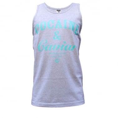 Cocaine Tank Top - Grey/Tiffany Blue