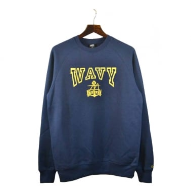 L.A Wavy Crewneck Sweater - Dark Navy