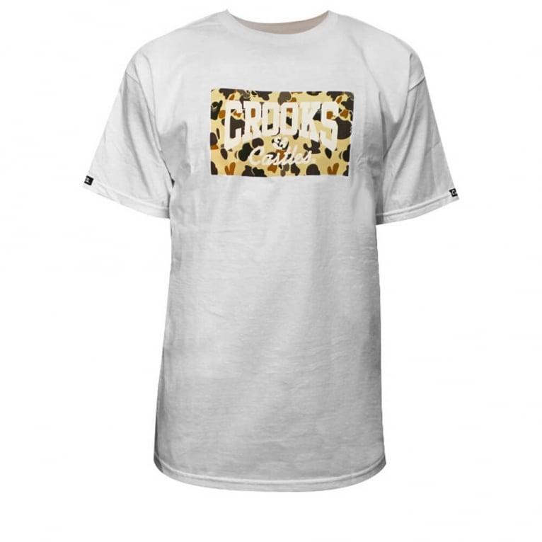 Crooks & Castles Logo Camo T-shirt - White