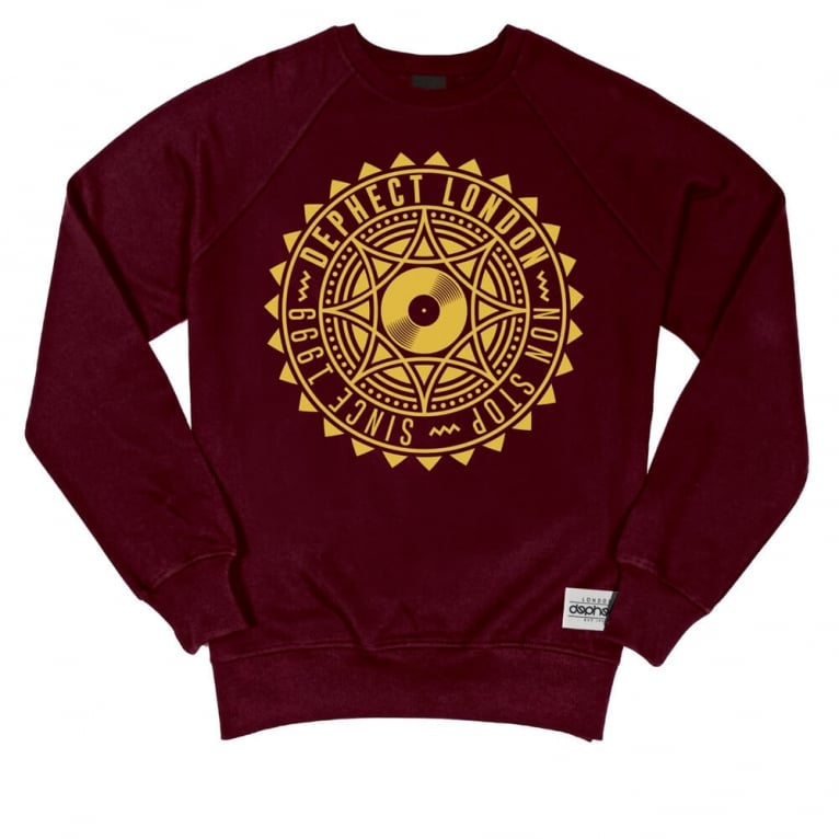 Dephect Covered Crewneck Sweatshirt - Burgundy