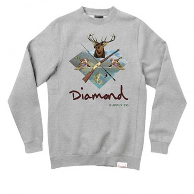 Diamond Supply Co. Hunter Club Crewneck Sweatshirt - Gunmetal
