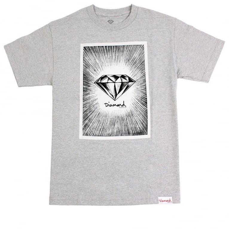 Diamond Supply Co. News Print T-shirt - Heather Grey