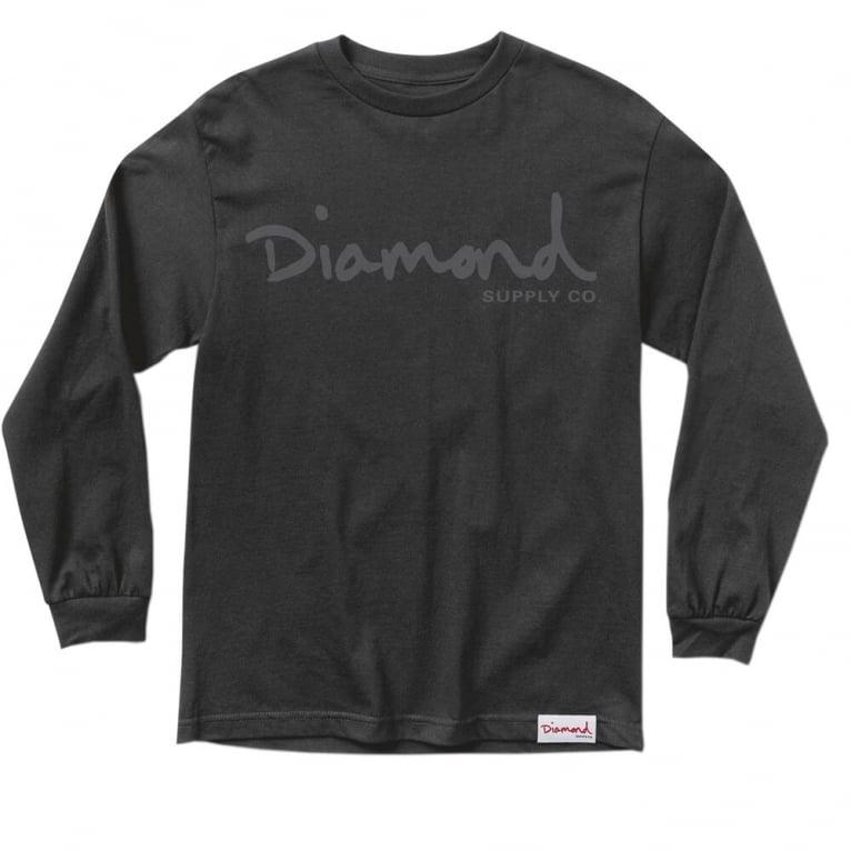 Diamond Supply Co. Tonal OG Script Long Sleeve T-shirt - Black