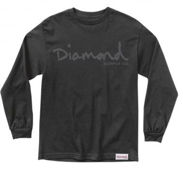 Tonal OG Script Long Sleeve T-shirt - Black