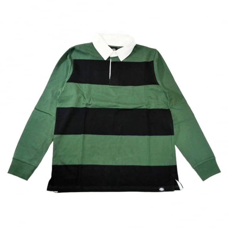 Dickies Cedar Long Sleeve Rugby Shirt - Black/Green