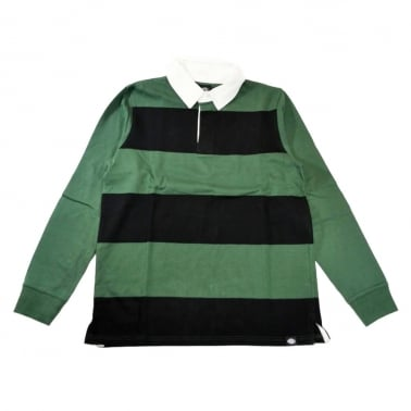 Cedar Long Sleeve Rugby Shirt - Black/Green