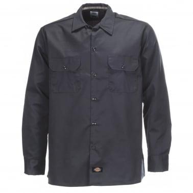 Long Sleeve Slim Shirt - Dark Navy