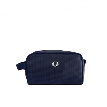 Checkered Twill Travel Bag - Navy