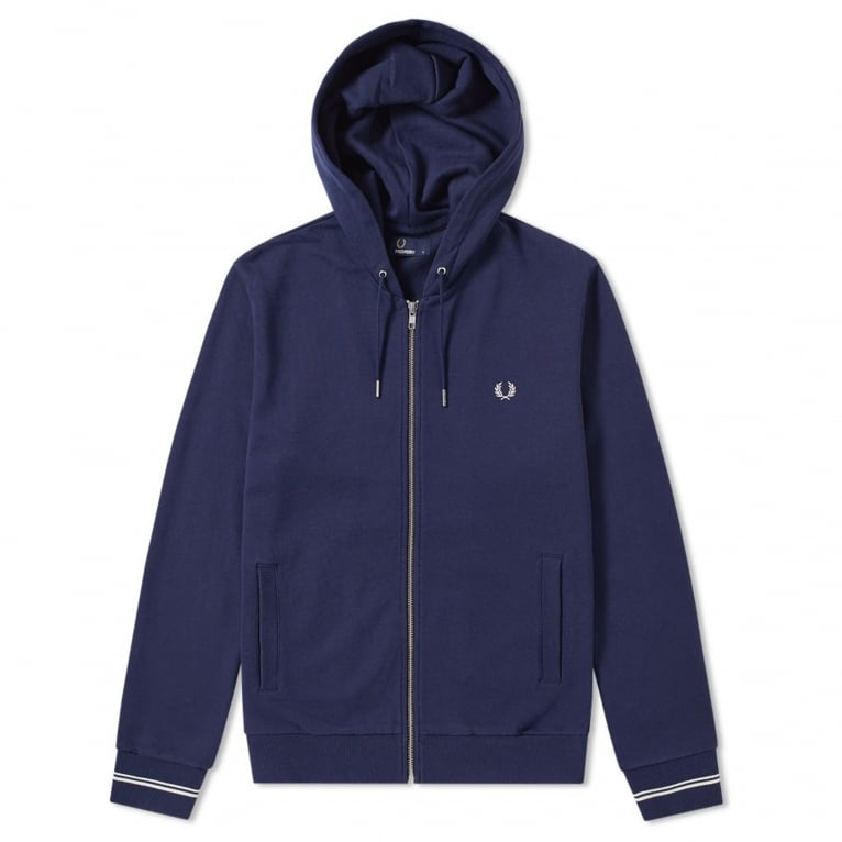 Fred Perry Loopback Zip Hood - Carbon Blue