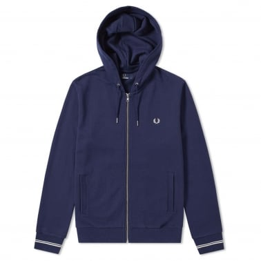 Loopback Zip Hood - Carbon Blue