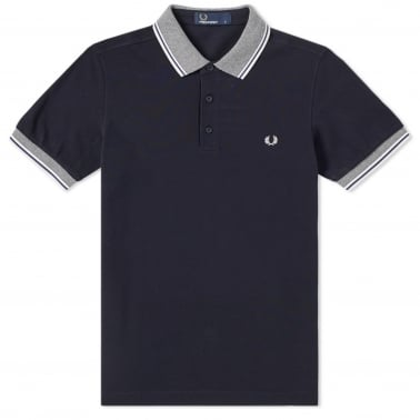 Stripe Tipped Collar Polo - Navy
