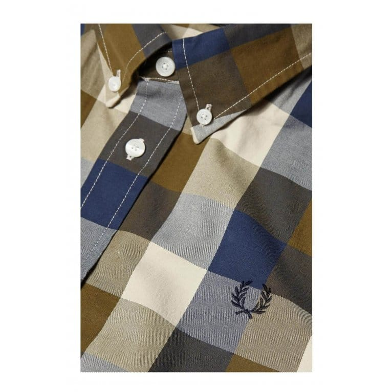 Fred Perry Winter Gingham Shirt - Dark Olive