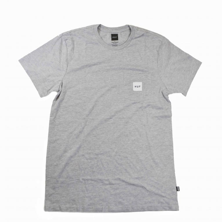 HUF Box Logo Pocket T-shirt - Grey Heather