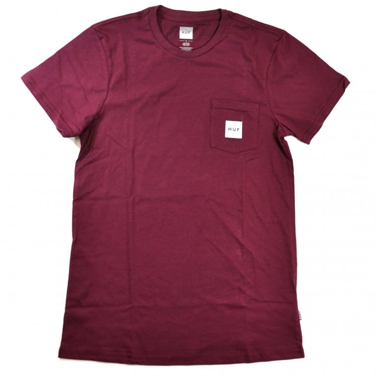HUF Box Logo Pocket T-shirt - Wine Heather