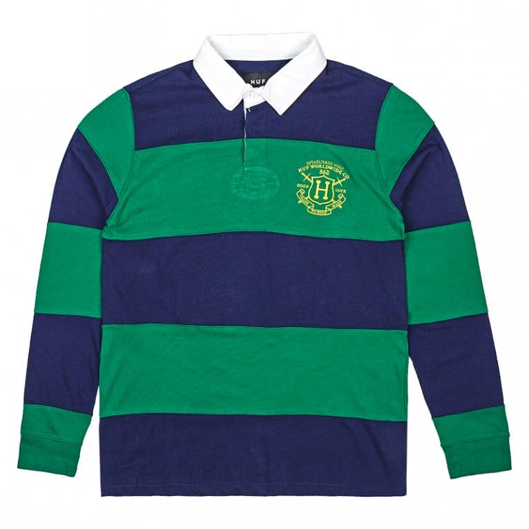 HUF Scholar Long Sleeve Rugby Shirt - Green