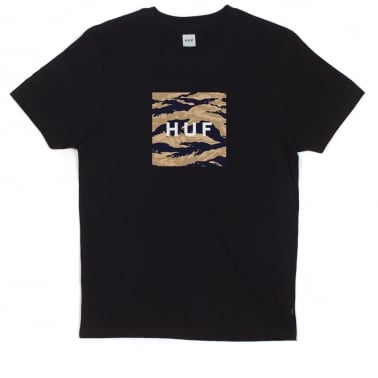 Tiger Camo Box Logo T-shirt - Black