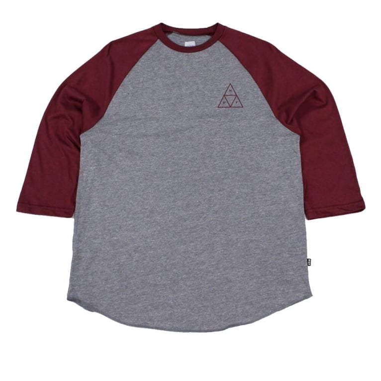 HUF Triangle Raglan T-shirt - Grey/Burgundy