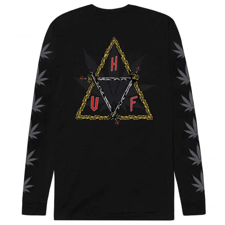 HUF x Ty Dolla $ign Swords Triangle Long Sleeve Tee - Black