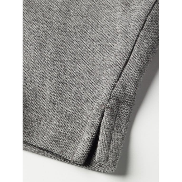 Lyle & Scott Long Sleeve Plain Polo Mid Grey Marl