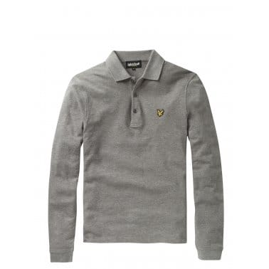 Long Sleeve Plain Polo Mid Grey Marl