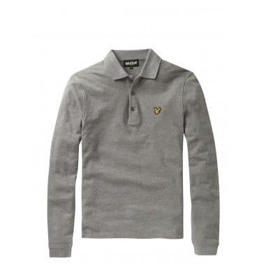 Long Sleeve Plain Polo Mid Grey Marl