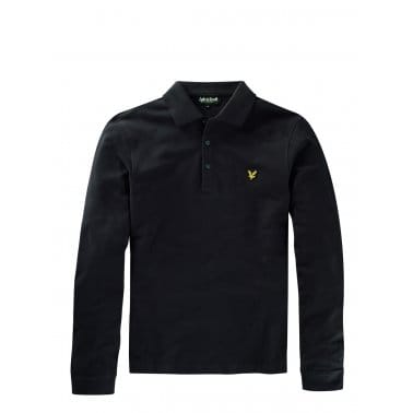Long Sleeve Plain Polo True Black