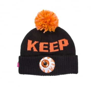 Keep Watch Pom Beanie - Black/Orange