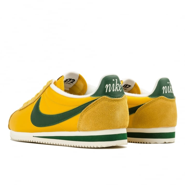 nike cortez green and yellow