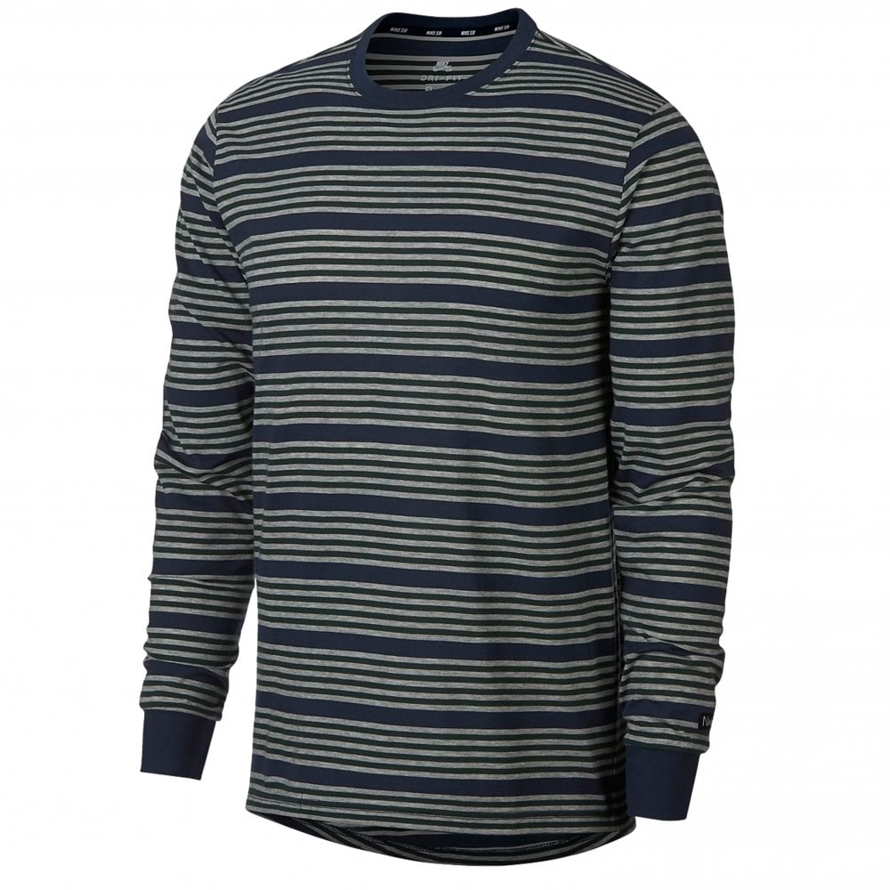 Nike SB Stripe Long Sleeve T Shirt Obsidian