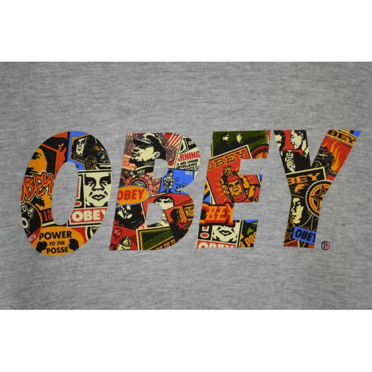 Obey Collage Hood Heather Grey