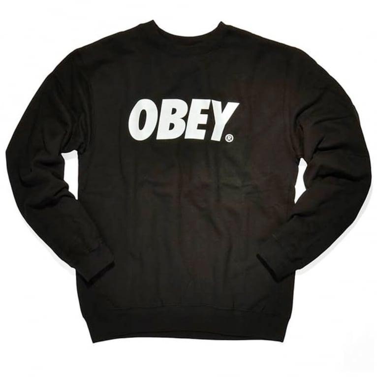 Obey Font Crewneck Sweatshirt - Black