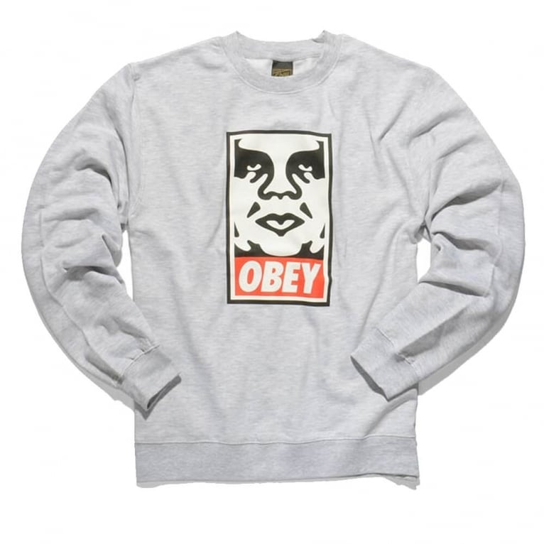 Obey Icon Face Crew Heather Grey