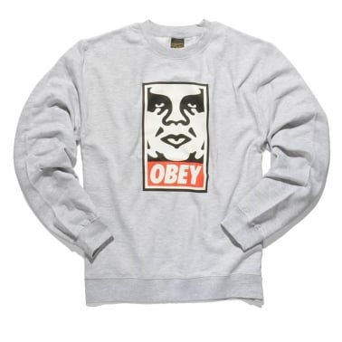 Icon Face Crew Heather Grey